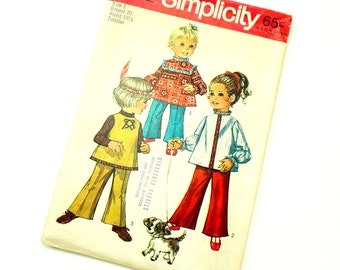 Vintage 1960s Toddler Size 1 Groovy Hippie Top and Bell Bottom Pants Simplicity Sewing Pattern 8522 Complete / b20 w19.5