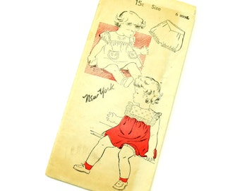 Vintage 1940s Baby Size 6M Dress and Panties Set New York Sewing Pattern 1929 / Complete