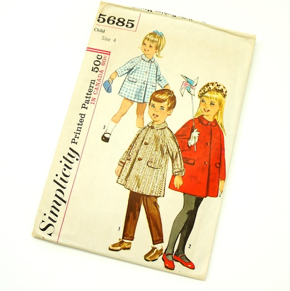 Vintage 1960s Child's Size 4 Lined Raglan Sleeves Coat Simplicity Pattern 5685 / Complete