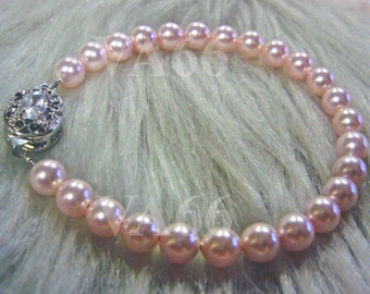 Rosaline Pink Swarovski Pearl Diamond Rhinestone Clasp Vintage Classic Bracelet Bangle 27 Color Choices Bridesmaids, Bride, Mother, Birthday