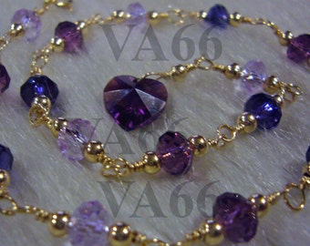 Purple 14k gold filled Swarovski Crystal 5040 6mm donut rondelle Anklet Colours 925 silver choice Bridal jewelry, bridesmaids, matching sets
