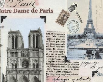 Paris 2014 Fabric By Timeless Treasures Patchwork Of Vintage Photos Pictures Blush Pastel Paris Monuments Postcards Stamps Letters