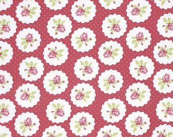 Lulu Roses Fabric From Tanya Whelan 94 Lotti Rose Roses Floral Flowers in Circles with Polka Dots on Red