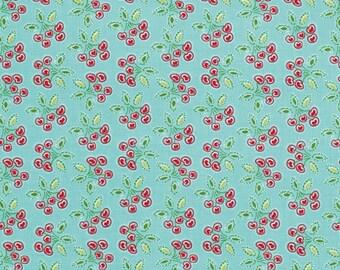 Love And Joy Christmas Holiday by Dena Fishbein Fabric 157 Cherry Heart Hearts Cherries on Aqua Blue