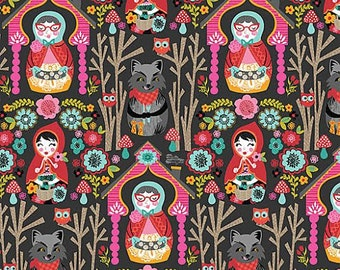 Riding Hood Fabric by Blend Fabrics The Story Grandmother in House Forest with Wolf on Gray Grey