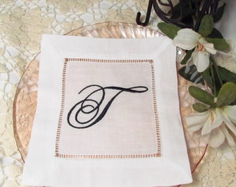 Monogrammed Linen Cocktail Napkins, Set of 10, Choose Your Own Monogram:  Cottage Roses or Elegant or Modern