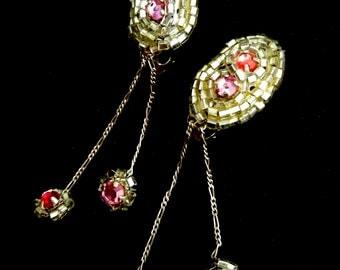 1940s ancient and unique Venetian dangling earrings - Venetian glass Bugle Beads  silver - art.604/3 -