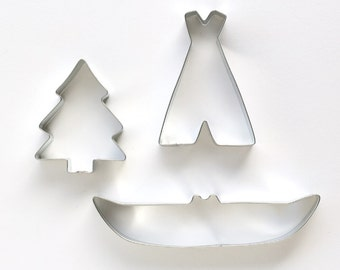 Camping Cookie Cutters (set of 3) Canoe Cookie Cutter, Tent Cookie Cutter, Tree Cookie Cutter