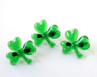Shamrock Cupcake Toppers - St. Patrick's Day Cupcake Rings (set of 12) Green Glitter Shamrock Rings