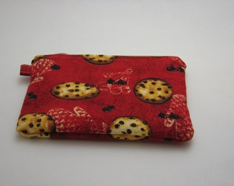 Small Zipper Pouch, Coin Purse, Cell Phone Case, Grab and Go Wallet, Cookie Design, Ready to ship