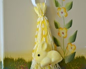 Yellow Easter Bunny on Metallic Thread Beaded Tassel - Easter Decor