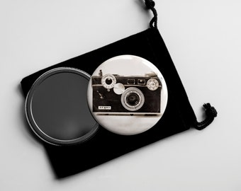 "The Argus C3 (1939–1966) - Vintage Sepia Camera Photograph- Pocket Mirror - 2.25"" with Velvet Pouch"