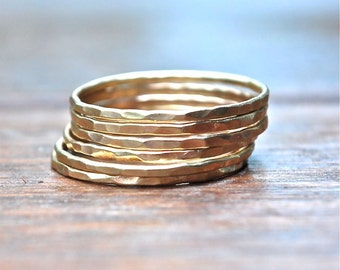7 Gold Rings - 10k Gold Stack Rings - Skinny Stack - Delicate Bands