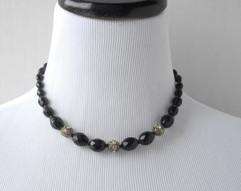 Vintage West Germany Faceted Bead Necklace, Black Bead Necklace, Black Necklace