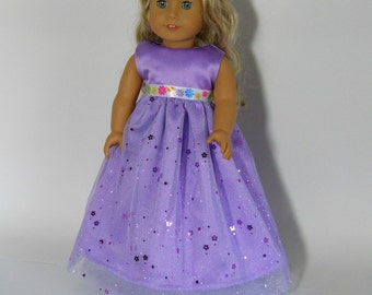 18 inch doll clothes made to fit dolls such as American Girl,  Lavender Flower Dress, 06-0253