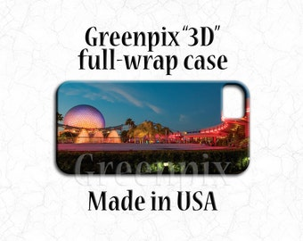 Disney iPhone 7 case, EPCOT Spaceship Earth,  full wrap cover, original greenpix photography, travel landscape, cellphone cover, cell phone