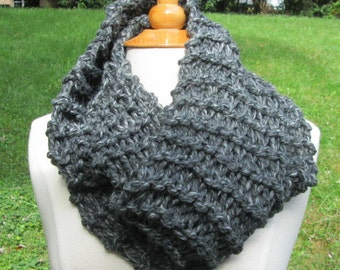 Charcoal Grey Infinity Cowl Scarf