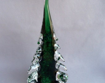Hand Blown Art Glass  Christmas Tree- Medium