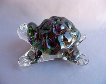 Hand Blown  Art Glass Turtle Figurine.
