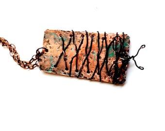 Boho style organic copper pendant with laced copper wire and patina finish-copper-Copper pendant-Copper Wire and Pendant-Boho style-Organic