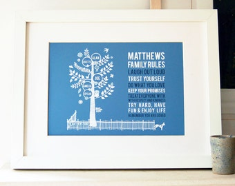 Personalized Family Tree with Family Rules Print, personalized names, gift for family, gift for dad, gift for mum, fathers day, mothers day