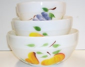 Anchor Hocking Fire King Gay Fad 3 Piece Set Mixing Bowls, Stacking Bowls, Hand Painted Fruit, Milk Glass Bowls, Vintage Kitchen, Retro
