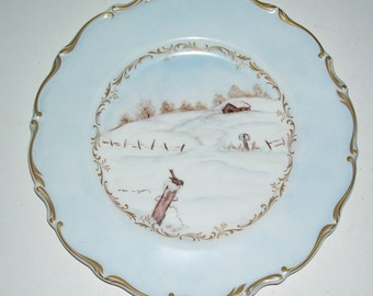 Royal Doulton Richelieu Hand Painted Winter Scene Collectors Plate, Trimmed in Gold, Pale blue and white, Limited, English Fine Bone China