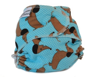 Cloth Diaper Fitted, One Size, Daschund Print Baby Diaper, Flannel - Add Snaps, Hook and Loop, or Pins