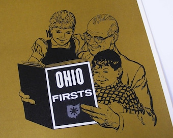 Ohio firsts book, ohio history, fun facts, vintage trivia learning school, grandfather and grandkids, wonderful world of ohio