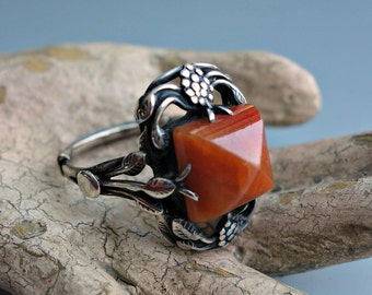 Art Nouveau Carnelian Glass and Sterling Ring