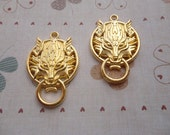 10pcs 40mmx27mm Wolf/wolf head Gold Plated Retro Pendant Charm For Jewelry Pendant