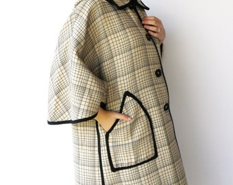 Vintage Hooded Cape / Cream and Coal Button-Up Cape / Size M L XL