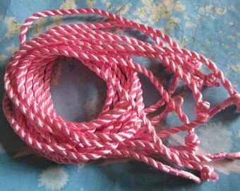 15pcs 3mm 18 inch dark pink twist silk necklace cords with ball and knot