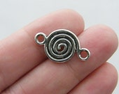 8 Twirly pattern connector charms antique silver tone M69