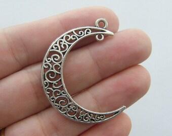 4 Moon pendants antique silver tone M27