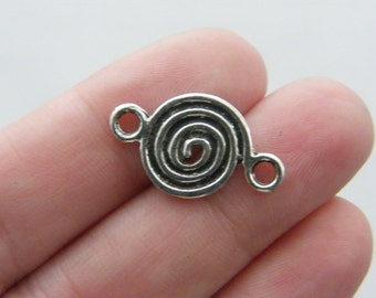 8 Spiral pattern connector charms antique silver tone M69