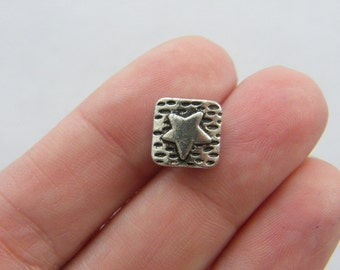 10 Star  spacer beads tibetan silver S41