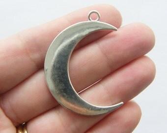2 Moon pendants antique silver tone M29