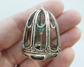 1 Bird cage charm antique silver tone B139
