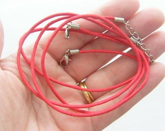 2 Red waxed cord necklaces