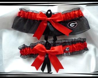 Organza Ribbon Wedding Garter Set Made with Georgia Bulldogs Fabric