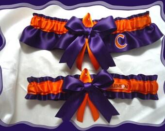 Purple & Orange Satin Ribbon Wedding Garter Set Made with Clemson Fabric