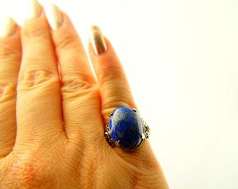 Lapis Ring - Sterling Silver - Vintage
