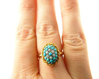 Turquoise and Opal Ring - 18k Gold - Vintage Jewelry