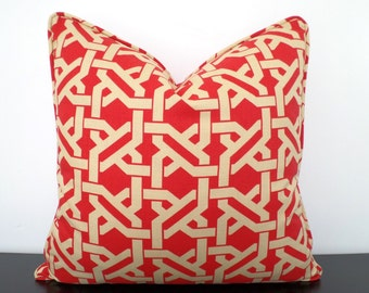Red pillow cover 18x18 lattice print, geometric sofa cushion with piping, red and beige throw pillow, trellis cushion for dorm decor