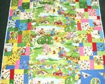 Berenstein Bear children's quilt - crib or toddler size, cotton and flannel - patchwork - machine quilted