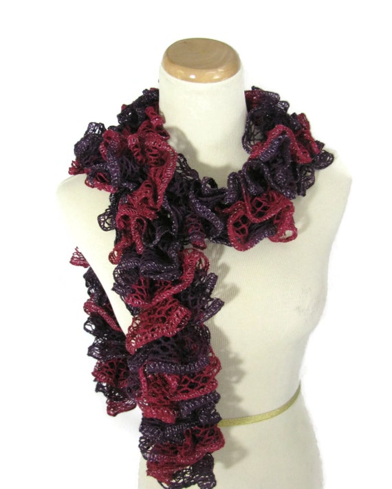Sale Hand Knit Ruffled Scarf - Red Purple Burgundy