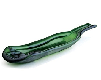 Green Wine Bottle Spoon Rest, Nut or Olive Dish - Upcycled