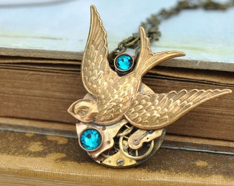 TIME TO Be FREE, bird necklace,  antiqued brass steampunk watch movement sparrow necklace with Swarovski rhinestones