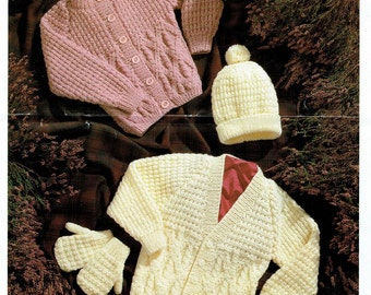 KNITTING PATTERN - Aran Sweaters Cardigans Hat and Mitts Fisherman 16 to 30 in chest